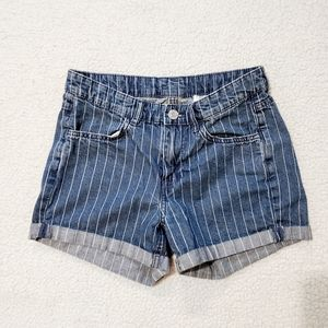 H&M Pinstripe Denim Shorts